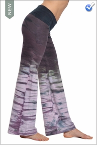 Wide Leg Roll Down Pants (Dark Rainbow Horizon) by Hard Tail Forever