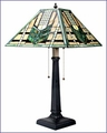 Arts and Crafts Green Chevron Stained Glass Table Lamp 8330