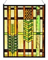 Arts and Crafts Mission Squares Stained Glass Panel