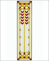 Arts and Crafts Prairie Double Chevron Art Glass Panel - Red