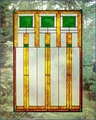 Arts and Crafts Prairie Squares Green Art Glass Panel
