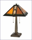 Arts and Crafts Prairie Stained Glass Table Lamp