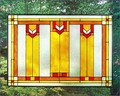Arts and Crafts Prairie Window Art Glass Panel Red