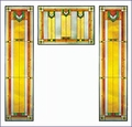 Arts and Crafts Prairie Window Green Art Glass Panel Triptych