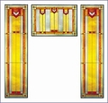 Arts and Crafts Prairie Window Red Art Glass Panel Triptych