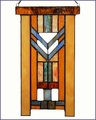 Arts and Crafts Stained Glass Chevron Blue Suncatcher Large