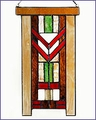 Arts and Crafts  Stained Glass Chevron Red Suncatcher Large
