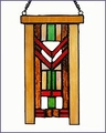Arts and Crafts Stained Glass Red Chevron Suncatcher