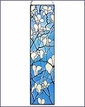 Arts and Crafts Tiffany Magnolia Blossoms Art Glass Panel - Ht: 42""
