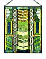 "Arts & Crafts Mission ""V"" Stained Glass Panel"