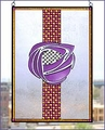 Charles Rennie Mackintosh Rose Art Glass Panel 1