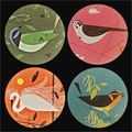 Charley Harper Feathered Friends Coasters Set with Stand