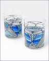 Frank Lloyd Wright Butterfly Tumbler Blue