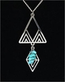 Frank Lloyd Wright Desert Triangles with Turquoise Pendant