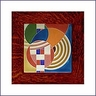 Frank Lloyd Wright Hoffman Circles Framed Tile - Brown