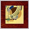 Frank Lloyd Wright March Balloons Framed Tile - Oak