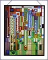 Frank Lloyd Wright Saguaro Stained Glass Metal Framed
