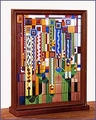 Frank Lloyd Wright Saguaro Stained Glass Wood Framed