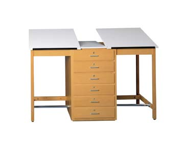 2 Station Art/Drafting Table - 6 drawers