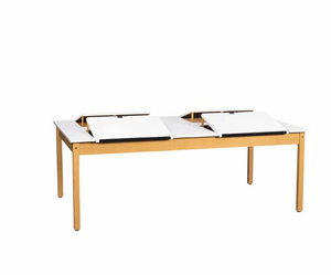 "4 Station Art/Drafting Table - Solid Maple Wood Table with 3/4""-thick  Plastic Laminate"