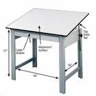 "Alvin� DesignMaster Table, Gray Base White Top 37.5"" x 60"""