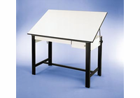 "Alvin� DesignMaster Table, Black Base White Top 2 Drawers 37.5"" x 60"""