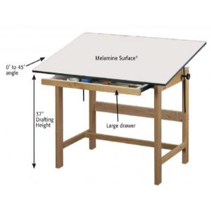 ALVIN� Titan Solid Oak Drafting Table 31X42X37 - Click to enlarge