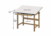 ALVIN� Titan Solid Oak Drafting Table 31X42X37
