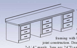 "Aux. Workbench - Base Cabinet, 32""-25"