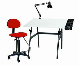 Berkeley 4-pc Combo Black base w/ White Top, Tray Lamp and Drafting Ht. RED Chair 4-pc Combo