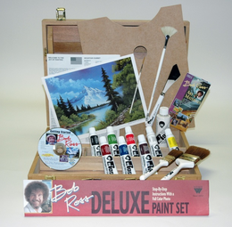 BOB ROSS DELUXE WOOD BOX SET WITH 1 HOUR DVD - Click to enlarge