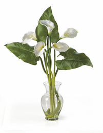 Calla Lilly Liquid Illusion w/Leaves - Click to enlarge