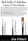 Da Vinci  Maestro Kolinsky - Series 1203K - Long Liner Brush Red Sable