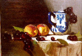 DAVID A. LEFFEL: Painting the Still Life, Peaches with Delft Mug (2 hour, Oil)  DVD
