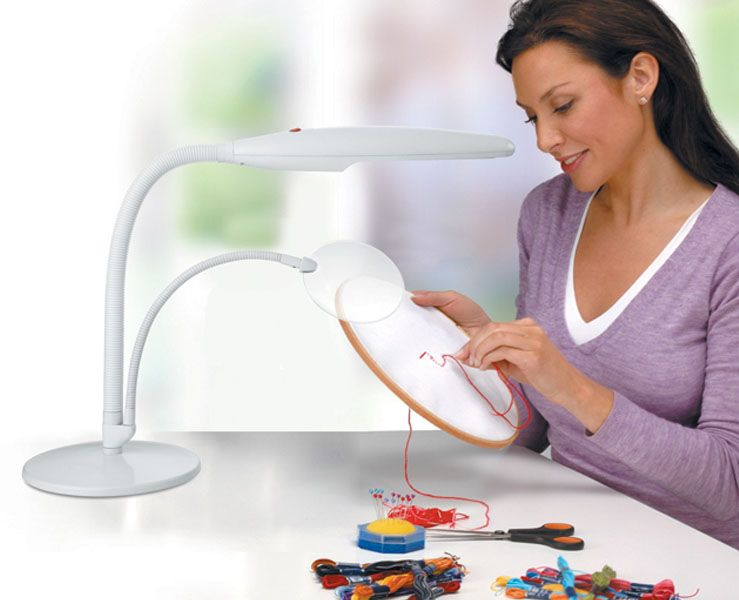 the daylight table top magnifying lamp is ideal for needlework jewelry. Black Bedroom Furniture Sets. Home Design Ideas