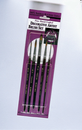 DECORATIVE PAINTING KOLINSKY BRUSH SET Includes #2, #3 & #4 Rounds; #1 Liner and #6 Filbert. - Click to enlarge