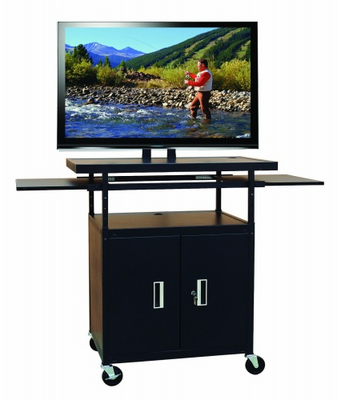 Flat Panel AV Cart with Locking Cabinet Adjustable 34� to 54�