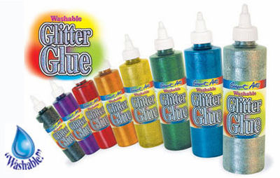 Glitter Glues - 8oz. Washable - (set of 8 Colors Asst. )