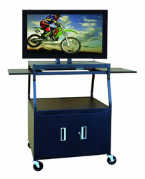 HAMILTON ELECTRONICS Flat Panel AV Cart with Locking Cabinet Adjustable 26� to 42�