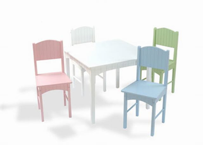KIDKRAFT Nantucket Table & 4 Pastel Chairs - Click to enlarge
