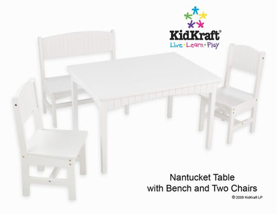 KIDKRAFT Nantucket Table with Bench and 2 Chairs - Click to enlarge