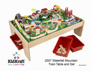 KIDKRAFT Natural Train Table w/ 3 Bins & 120pc Mountain Train Set