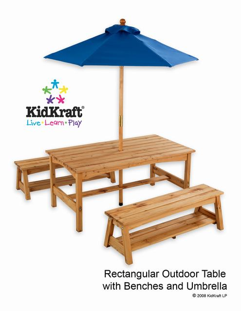 Kidkraft Table Amp Benches With Blue Umbrella