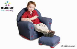 KIDKRAFT Upholstered Rocker w/Ottoman - Denim - Click to enlarge