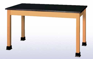 Lab Table with book wells - black plastic lam top - Click to enlarge