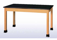 Lab Table with book wells - maple top