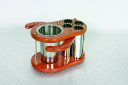Mahogany and Stainless Steel BRUSH HOLDER/Washer WITH STAINLESS STEEL CANISTERS