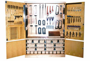 Metalworking Tool Storage Cabinet with Tools