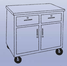 Mobile Storage Cabinet - 2 drawers/2 doors