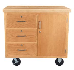 Mobile Storage Cabinet - 3 drawers/1 door